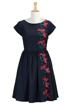 I <3 this Floral vine cotton poplin dress from eShakti