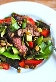 Mexican Steak Salad - looks so yummy.. be careful of the spices to be sure i haven't missed a potential cross contamination..