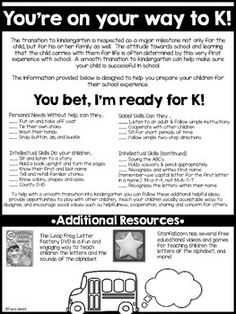 You're on Your Way to K! {a freebie parent flier}Visit my blog Little Minds at Work Follow me on Facebook