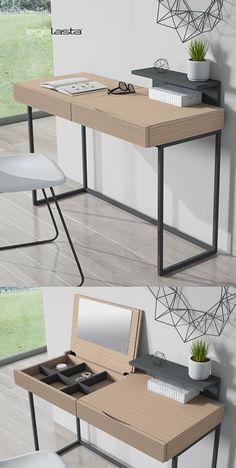 Egelasta · Mueble · Moderno · Madera · Mobiliario de hogar · Catálogo New Live · Día · Noche · Escritorio y tocador con patas de metal · Roble nórdico