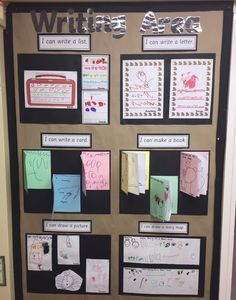 Writing display 📝 thank you to for the fab id… - Kindergarten Phonics Display, Literacy Display, Literacy Stations, Writing Station, Writing Area, Writing Centers, Writing Table, Eyfs Activities, Writing Activities