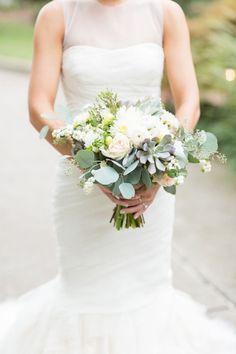 Soft posies and a pop of grey toned succulents - perfect for a bride with style! #cedarwoodweddings | Cedarwood Weddings
