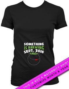 62d68f8e Custom Pregnancy Announcement T Shirt Pregnancy Reveal Something Is Brewing  Expecting Mother Gift Custom Month Shirt Ladies Tee MAT-580
