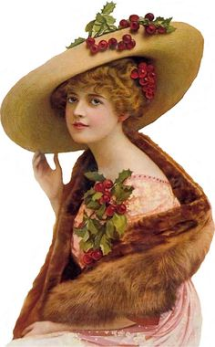 lady wearing holly corsage and holly in her hat