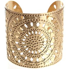 Gold cuff, circles, hammered cuff, moroccan jewelry, gold bracelet,... ($135) ❤ liked on Polyvore