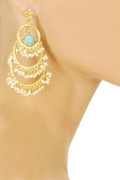 Gold plated turquoise stone earrings available only at Pernia's Pop-Up Shop.