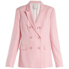 Tibi Steward double-breasted faille blazer (34.660 RUB) ❤ liked on Polyvore featuring outerwear, jackets, blazers, blazer, cloths, light pink, slim double breasted blazer, slim blazer, slim blazer jacket and slim jacket