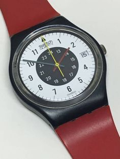 Vintage Swatch Watch Chrono Tech GB403 1984 Red by ThatIsSoFunny