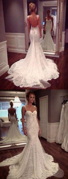 Spaghetti Straps wedding dresses, lace wedding dresses, open back wedding dresses, backless wedding dresses,wedding ideas