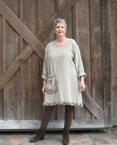 dress tunic washed linen in dark natural flax par linenclothing, $139.00
