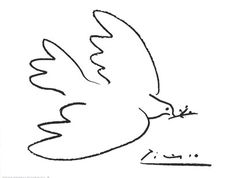 Picasso | Dove of Peace | wonderful composition and balance by adding his signature in bold writing in right-hand corner.