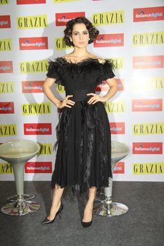 Glam Gal - Kangana Ranaut Glam Point - Grazia's Cover Launch Glam Tip - Rock a top to toe black look with fresh and dewy makeup!  -Your Glam Pal, Srishti
