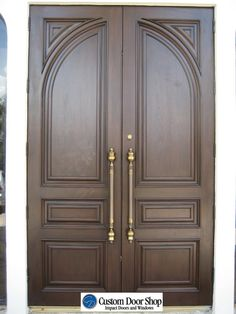 Custom Door Shop's professional sales staff provides tailored services to homeowners, architects, designers, builders and general contractors providing hurricane impact door systems and thousands of different wood styles. Wooden Double Doors, Wooden Front Door Design, Double Door Design, Double Front Doors, Wooden Front Doors, Craftsman Interior Doors, Prehung Interior Doors, Double Doors Exterior, Wood Exterior Door
