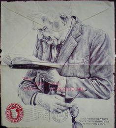 Bic Biro drawing on Vintage envelope Art Print Biro Drawing, Painting & Drawing, Drawing Faces, Art Sketches, Art Drawings, Figure Drawings, Mark Powell, Artist Journal, Envelope Art