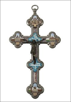Antique Micro Mosaic Crucifix / Cross - Architectural Scenes - Italian