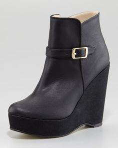 Stella McCartney Side-Buckle Ankle-Wedge Boot - Neiman Marcus