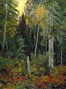 Frank Johnston, Sunset in the Bush, oil on canvas x cm McMichael Canadian Art Collection Gift of the Paul Rodrik Estate Canadian Painters, Canadian Artists, Landscape Art, Landscape Paintings, Green Landscape, Impressionist Paintings, Group Of Seven Paintings, Tom Thomson Paintings, Famous Artists