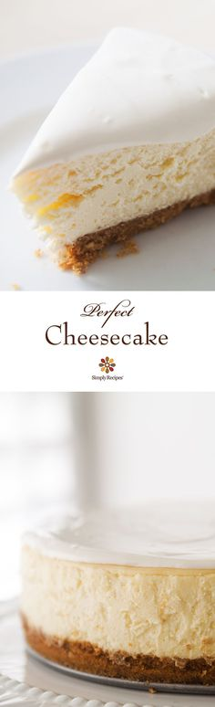 Beautiful, classic cheesecake! Tangy and sweet, with a velvety smooth and rich texture. #cheesecake #dessert #holiday