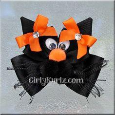 Gato negro naranja arco Halloween pelo arco por GirlyKurlz en Etsy