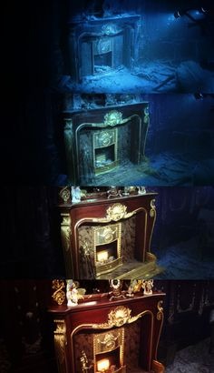 Titanic means something personal to everyone. Fireplace on the Titanic Now and Then. Amazing how the mantle clock is in it's original position. Rms Titanic, Titanic Photos, Titanic Ship, Titanic Movie, Titanic Sinking, Costume Titanic, Titanic Artifacts, Modern History, Shipwreck