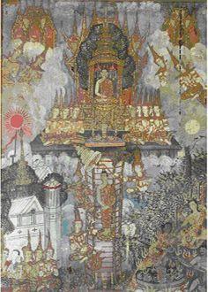 The painting depicts the Lord Buddha descending from Tavatisma Heaven. Thai Thai, Thai Art, 1 Century, Khmer Empire, Buddhist Art, Angkor Wat, Buddhism, Cambodia, The Past