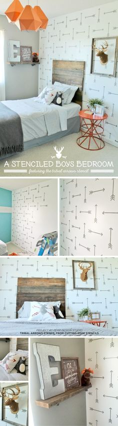 Cutting Edge Stencils shares a DIY stenciled accent wall in a rustic boys room using the Tribal Arrows Allover Stencil.