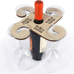 Ideal for dinner parties, weddings and special occasions, these beautiful laser cut wooden wine glass holders fit on most wine and champagne bottles. Each one features a design from one of our talented designers and holds either two or four wine glasses or champagne flutes (depending on size chosen). | eBay!
