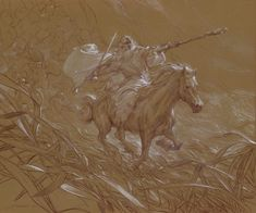 """Gandalf the White Rider at Helms Deep""    20 x 24 inches watercolor pencil and chalk on paper  © 2011 Donato Giancola    private collection"