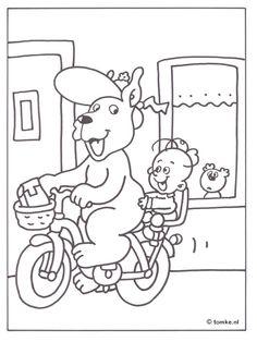Kleurplaat Nei skoalle- Tomke op de fyts/  Kleurplaat naar school- Tomke op de fiets Peanuts Comics, Abs, Snoopy, Fictional Characters, Crunches, Fantasy Characters, Killer Abs, Six Pack Abs, Abdominal Muscles