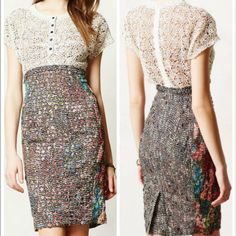Byron Lars Beguile Lace Study Dress Beautiful shapely laser cut dress! Anthropologie Dresses