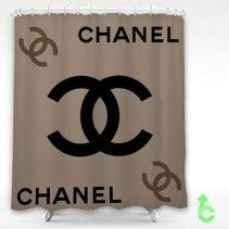 Chanel Black Logo Light Cool Brown Shower Curtain