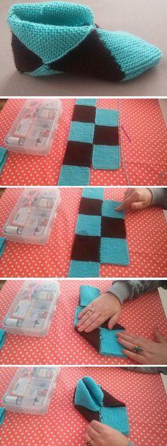 , Simple Step by Step Slippers Tutorial - Design Peak. , Simple Step by Step Slippers Tutorial Knitting Wool, Knitting Socks, Baby Knitting, Crochet Baby, Free Crochet, Knit Crochet, Knitting Machine, Free Knitting, Simple Knitting