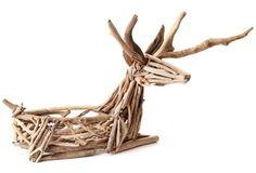 "33"" Driftwood Sitting Reindeer Planter"