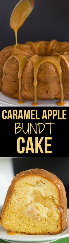 Caramel Apple Bundt Cake - An easy cake recipe baked up in a gorgeous Bundt pan, and topped with a perfect caramel glaze.
