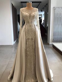 A-line Scoop Floor Length Long Sleeve Prom Dresses Evening Dresses Gold Wedding Gowns, Luxury Wedding Dress, Bridal Gowns, Prom Dresses Long With Sleeves, Prom Dresses 2018, Prom Gowns, Bridesmaid Gowns, Long Dresses, Dress Long