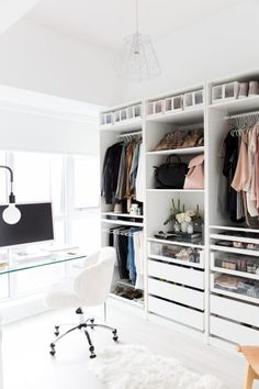 Dressing Ikea: the most stylish models – Elle Décoration – Typical Miracle Smart Closet, Ikea Closet, Closet Bedroom, Bedroom Decor, Wall Decor, Closet Office, Desk Office, Closet Space, Design Bedroom