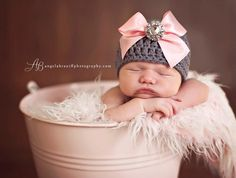 Organic Cotton & Soy Beanie Hat - Dark Gray Hat with Light Pink Satin Bow and Rhinestone Button - Fancy Newborn Photo Prop. $32.00, via Etsy.