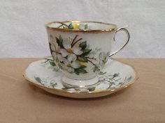 """Royal Albert """"White Dogwood"""" Teacup Set by Whitepearlfinds on Etsy"""