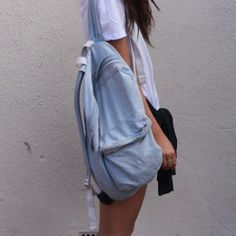 American Apparel light wash denim backpack A light denim backpack from American Apparel. It's a little dirty as you can see in the pics, hence the low price. It still has lots of life left in it and needs a great new home  American Apparel Bags Backpacks