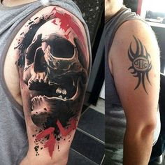 3D Skull cover up tattoo - The shadows across the skulls made it possible to cover up the previous design. The best part about the new tattoo is that it's way much cooler than the previous design which wouldn't make you regret having it, ever.