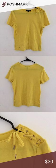 Ralph Lauren Top Bought this, washed it, and sat it in my closet. I have no idea why I've never gotten around to wearing this shirt because it's SO CUTE!!! The little criss cross tie on the shoulder is such an adorable accent. This yellow is gorgeous Ralph Lauren Tops