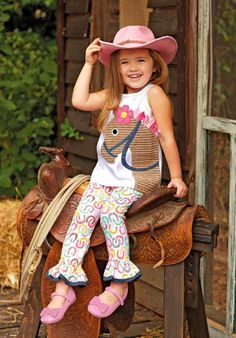 Mud Pie Horse applique tunic legging set with hair bow