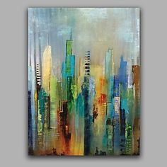 Abstract Modern Building Painting Stretched Free Shiping Oil Painting 4757078 2017 – $61.59 #OilPaintingOleo #abstractart