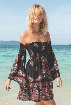BoHo Beauty /Hotel Paradiso Bell Sleeve Mini in Jet by Spell Designs at The Freedom State