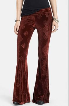 Free People Patterned Velvet Flared Pants available at #Nordstrom