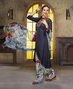 Navy Blue Cambric Cotton Punjabi Suit 70492