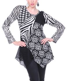 Loving this Black and White Patchwork Tunic on #zulily! #zulilyfinds