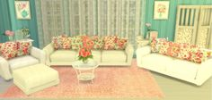 Sunshine & Roses Custom Content: Shabby Chic Living Room Set • Sims 4 Downloads