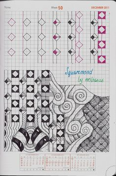 Squaremond-Tangle Pattern by molossus of life imitates doodles, Sandra Strait