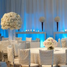 We can provide the white chair caps and linens within your budget. :)  white reception wedding flowers,  wedding decor, wedding flower centerpiece, wedding flower arrangement, add pic source on comment and we will update it. www.myfloweraffair.com can create this beautiful wedding flower look.